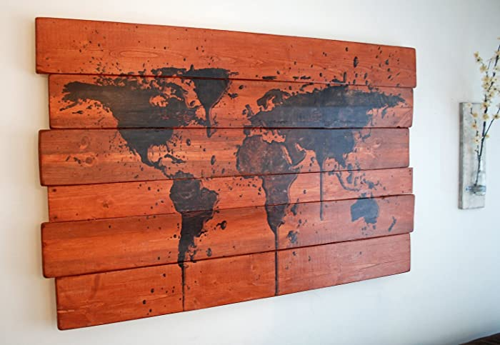 Amazon.com: Extra Large World Map Paint Splatter Wall Art on Stained ...