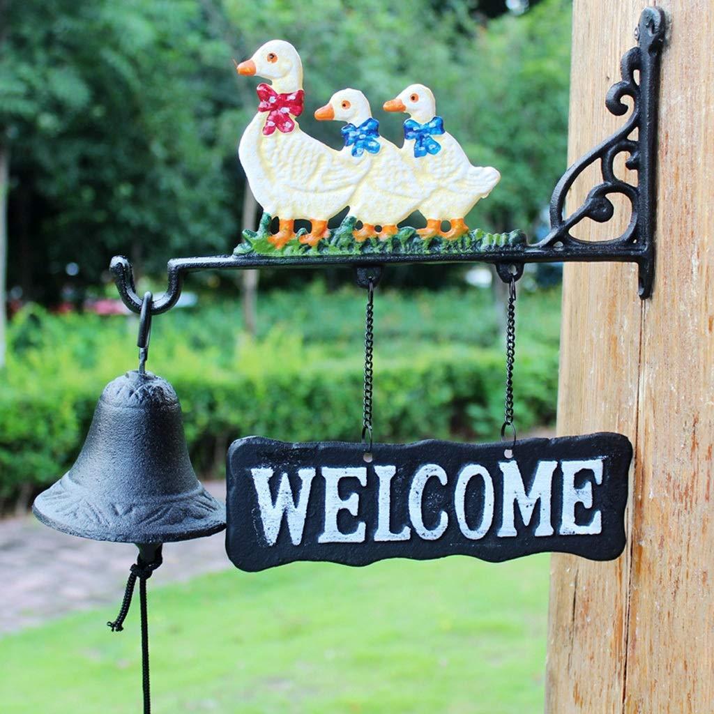 FLYSXP Duck cast Iron doorbell Wind Chime Decorative doorbell American Country Retro Crafts 30x9.7x28cm Vintage doorbell