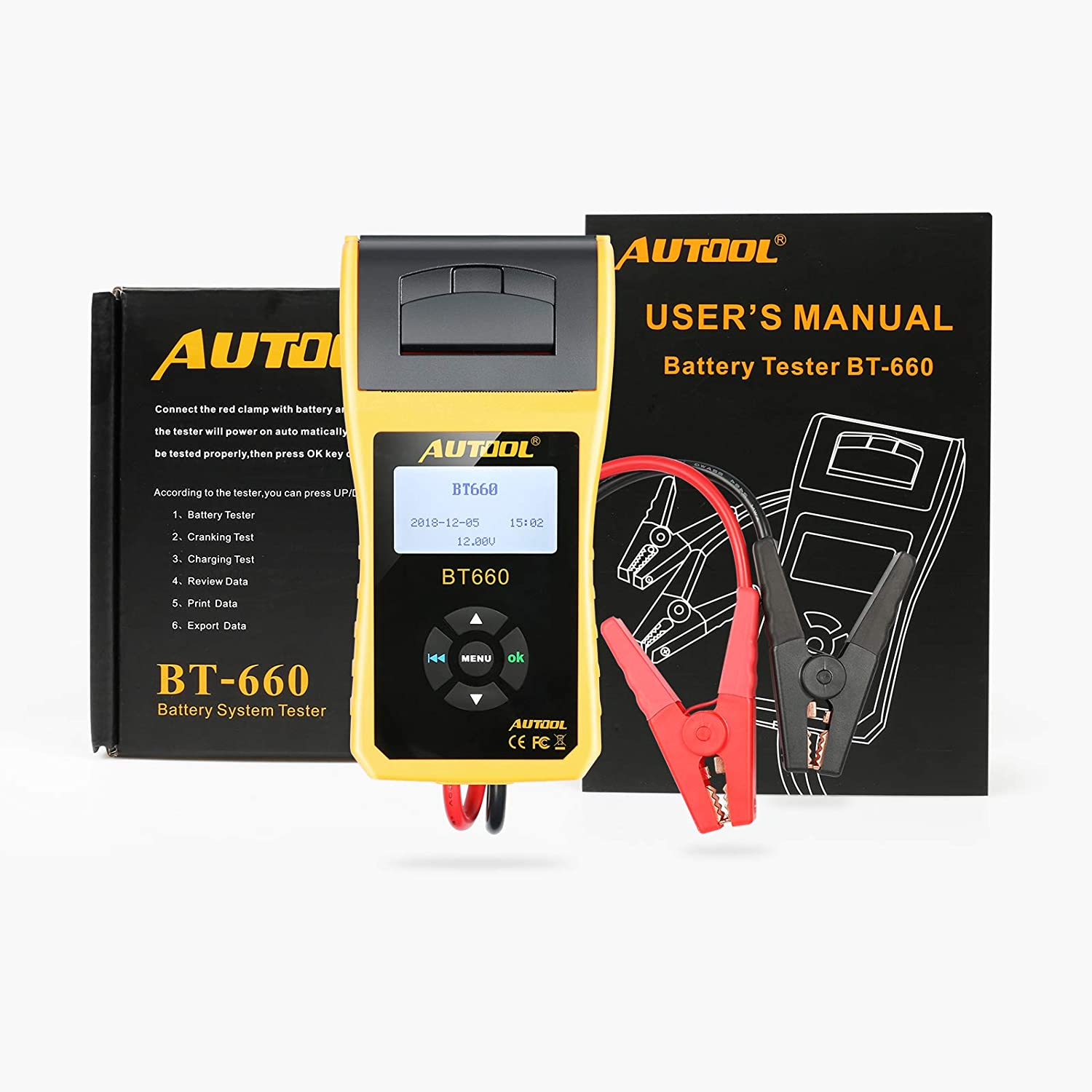 AUTOOL BT-360 Car Battery Tester, 12V Automative Battery Load Tester CCA 100-2400 Bad Cell Test for Regular Flooded,Auto Cranking and Charging System Diagnostic Analyzer for Vehicle/Boat/Motorcycle MRCARTOOL