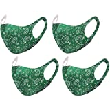 Unisex Paisley Bandana Mouth Face Protective Covering Fashion Balaclavas Fabric Washable Reusable Breathable (4, Green)