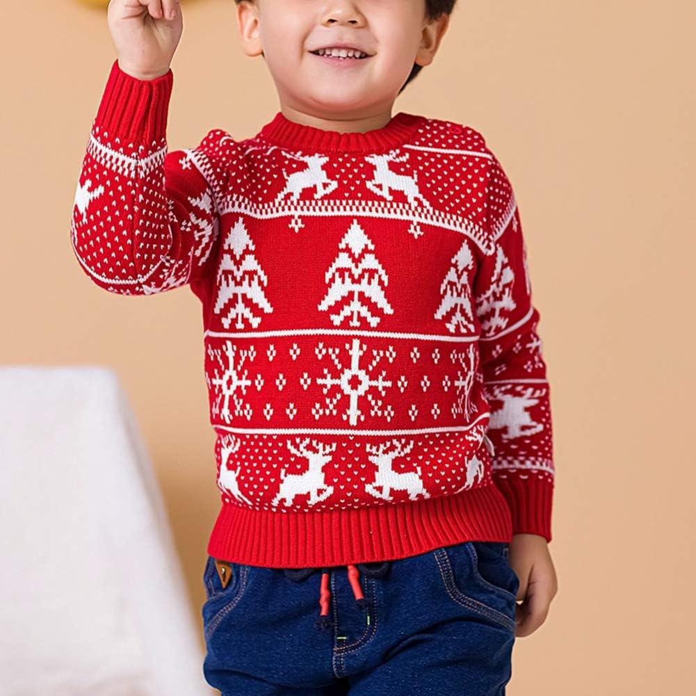 Aden Kinder M/ädchen Jungen Verdicken Weihnachtspullover Gedruckter Strickpullover Pullover Pulli
