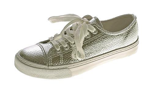Markenlos Damen Sneakers Glanz Halb Schuhe Schnürer Reptil Print Sneaker Gr. 36 41
