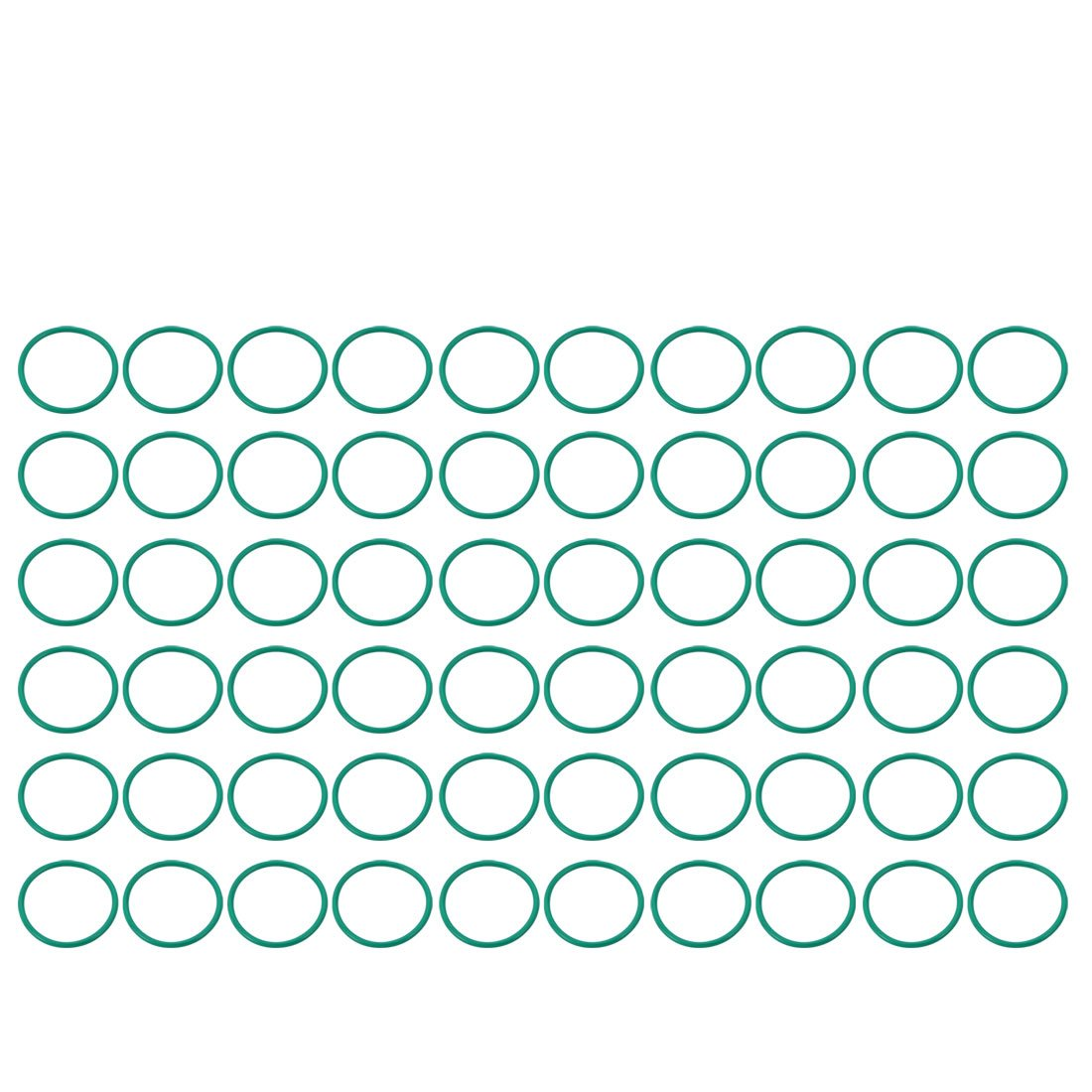 uxcell 60pcs Green 30mm Outer Dia 1.5mm Thickness Sealing Ring O-Shape Rubber Grommet