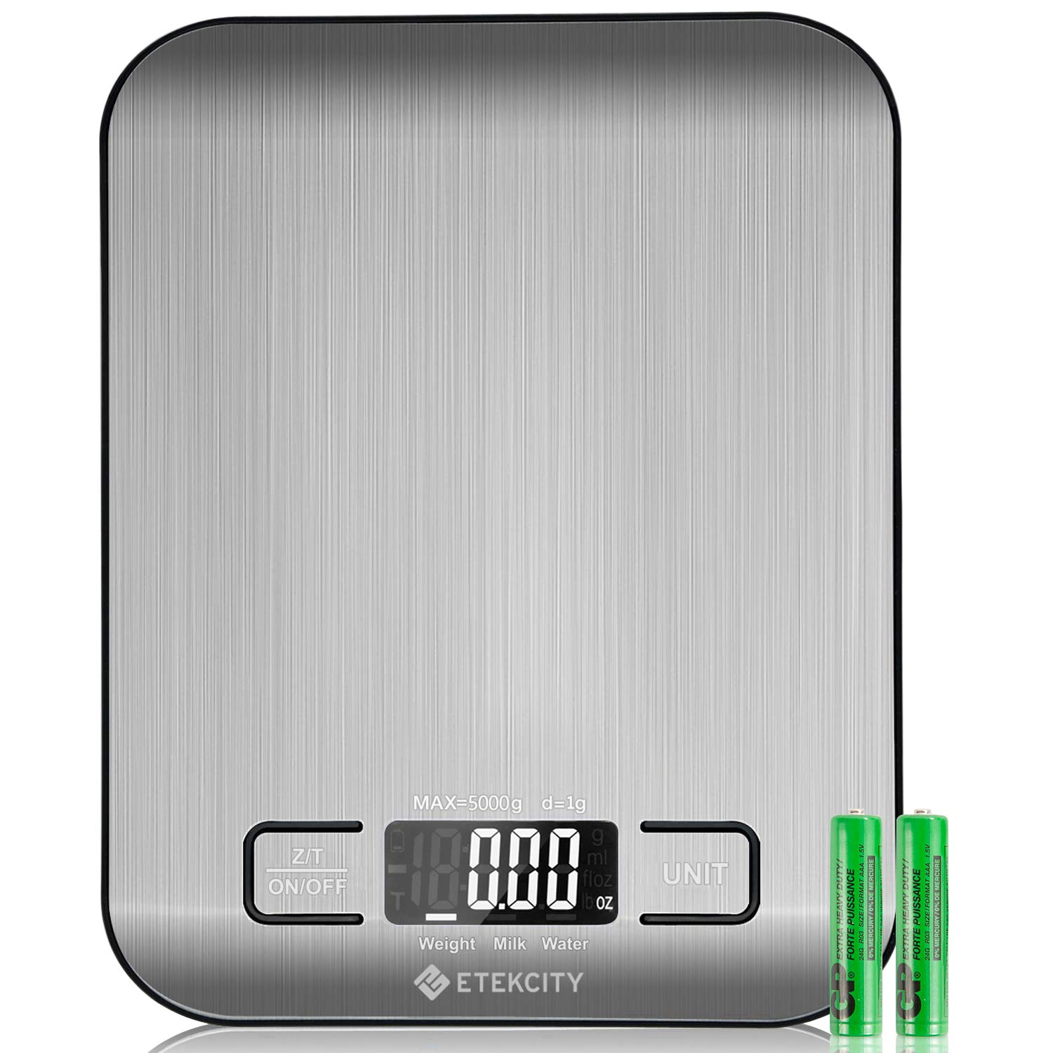 Etekcity Digital Kitchen Scale Multifunction Food Scale, 11lb 5kg, Silver, Stainless Steel (Batteries Included) by Etekcity (Image #1)