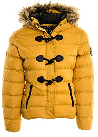 bf30ae55c54 Women's Toggle Badge Puffer Jacket Coat Faux Fur Hooded Padded Quilted  Jacket (14, Mustard
