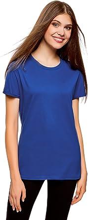 oodji Collection Mujer Camiseta Básica de Algodón, Azul, ES 34 ...