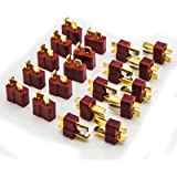 Allytech 10 Pair T Plug Connectors Deans Style Male and Female Connectors For RC LiPo Battery (20-Pack)