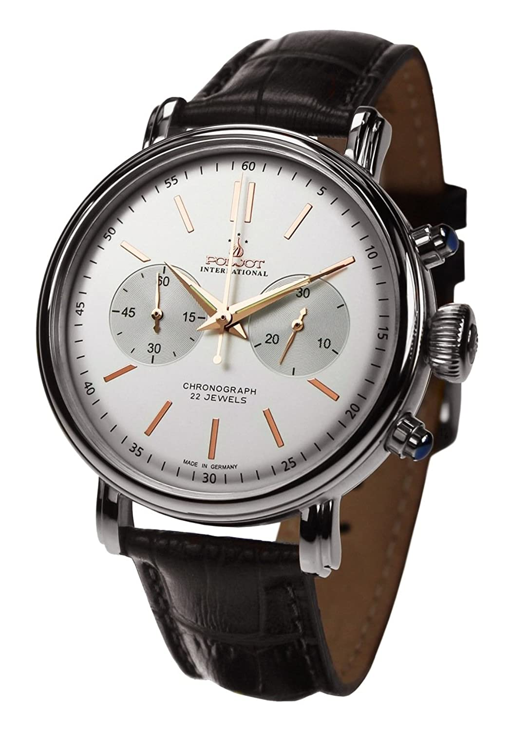 POLJOT Int. Chronograph Herrenuhr Classic Handaufzug Mechanisch Lederband Russian Watch