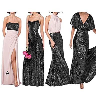 Z Sexy Rose Gold Sequins Bridesmaid Bresses Chiffon Long Mermaid Prom Dresses for Women