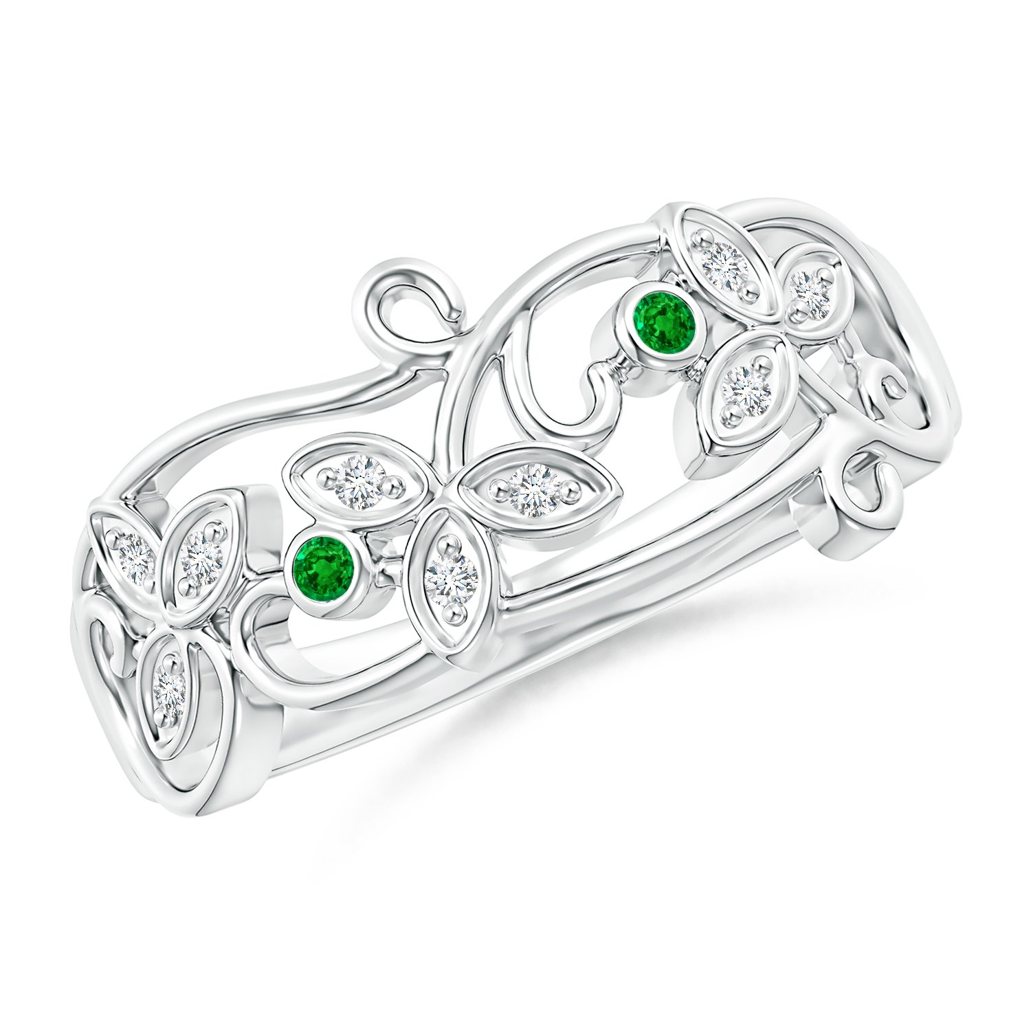 Vintage Style Emerald and Diamond Flower Scroll Ring in 14K White Gold (1.5mm Emerald)