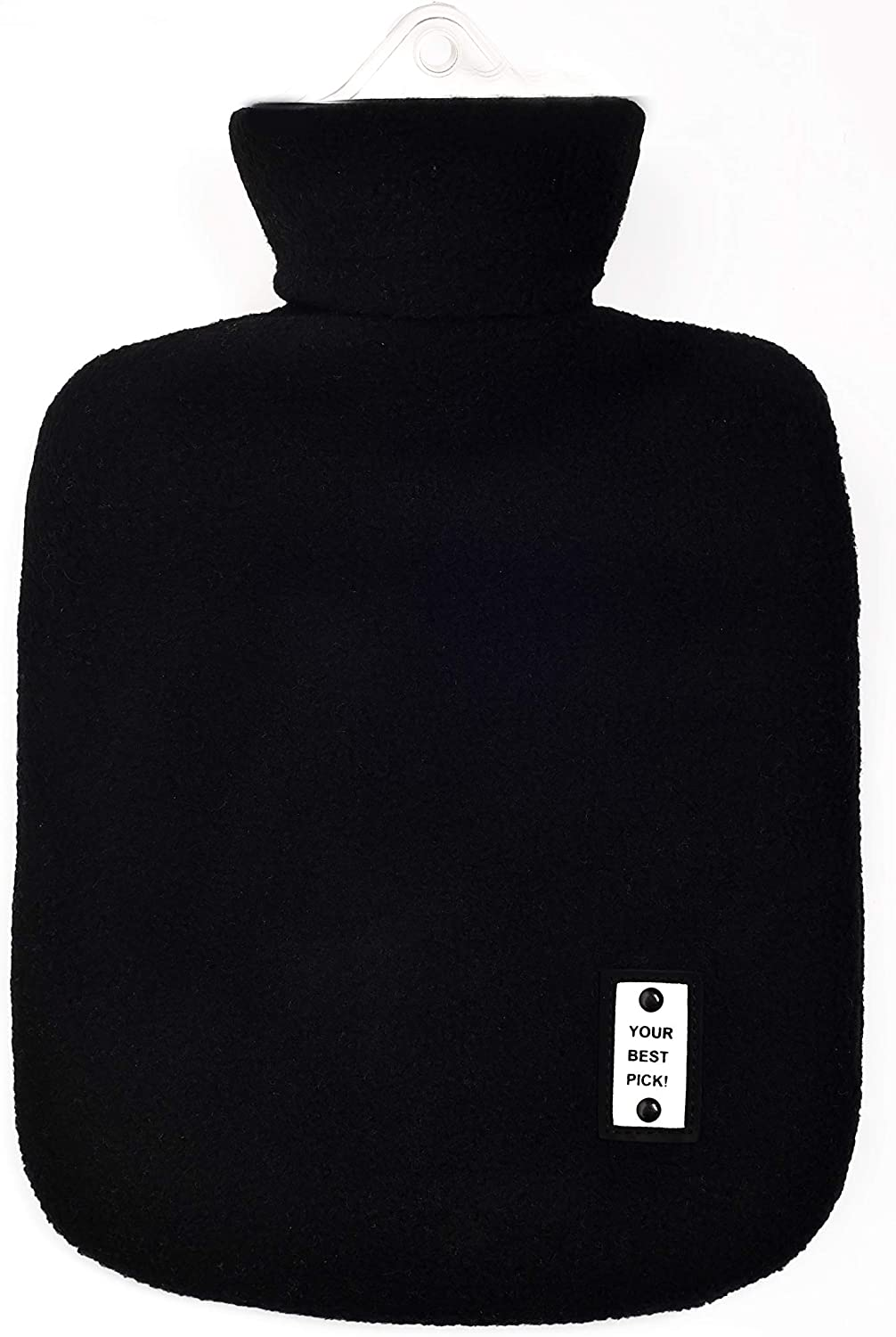 L&L Hot Water Bottle with Fleece 1 Liter hot Water Bag Great for Pain Relief, Hot Compress and Heat Therapy (Black)