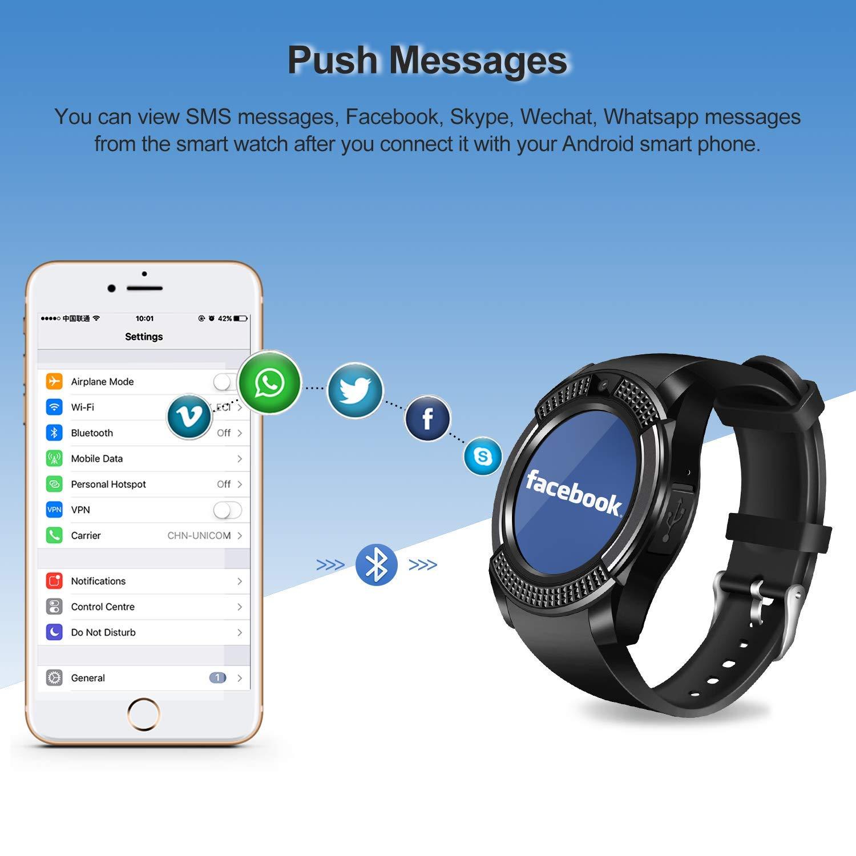 Smartwatch SEPVER Reloj Inteligente Smart Watch con Cámara Soporte de Pantalla Táctil Tarjeta SIM Compatible con Samsung Sony HTC Huawei Xiaomi Honor ...