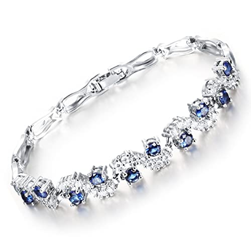743411aaecc Image Unavailable. Image not available for. Color  Feraco Women Crystal Blue  Sapphire Bracelet Cubic Zirconia Tennis Bangle ...