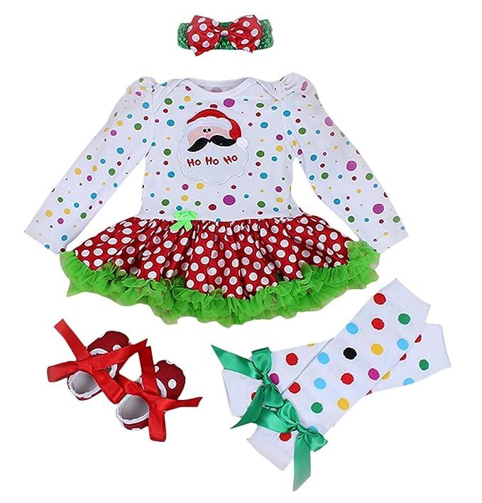 FEOYA - (conjunto de 4)Traje Ropa de Navidad Bebés Niñas Recién Nacidos  Vestido 7bafa48ae99d