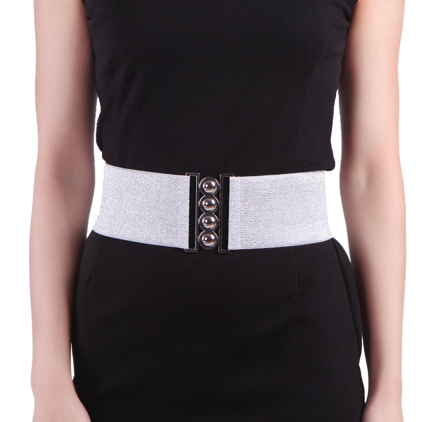 HDE Women's Cinch Belt Elastic Stretch Fashion Waist Band W/Clasp Buckle XS-5X HDE-50031