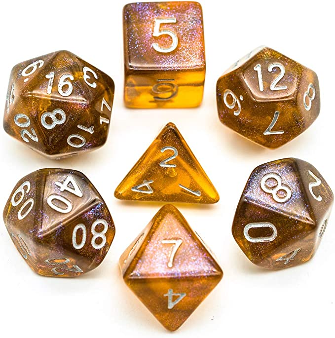 Myya 7pcs//set Crystal Powder Dice Set Flashing DND Dice D20 Multi-sided 20-sided Dice Table Board Role-playing Game Bar Club Party Game Props
