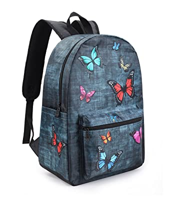 Backpack for School College Laptop Travel and Sports with Cool Cute Print (Butterfly)