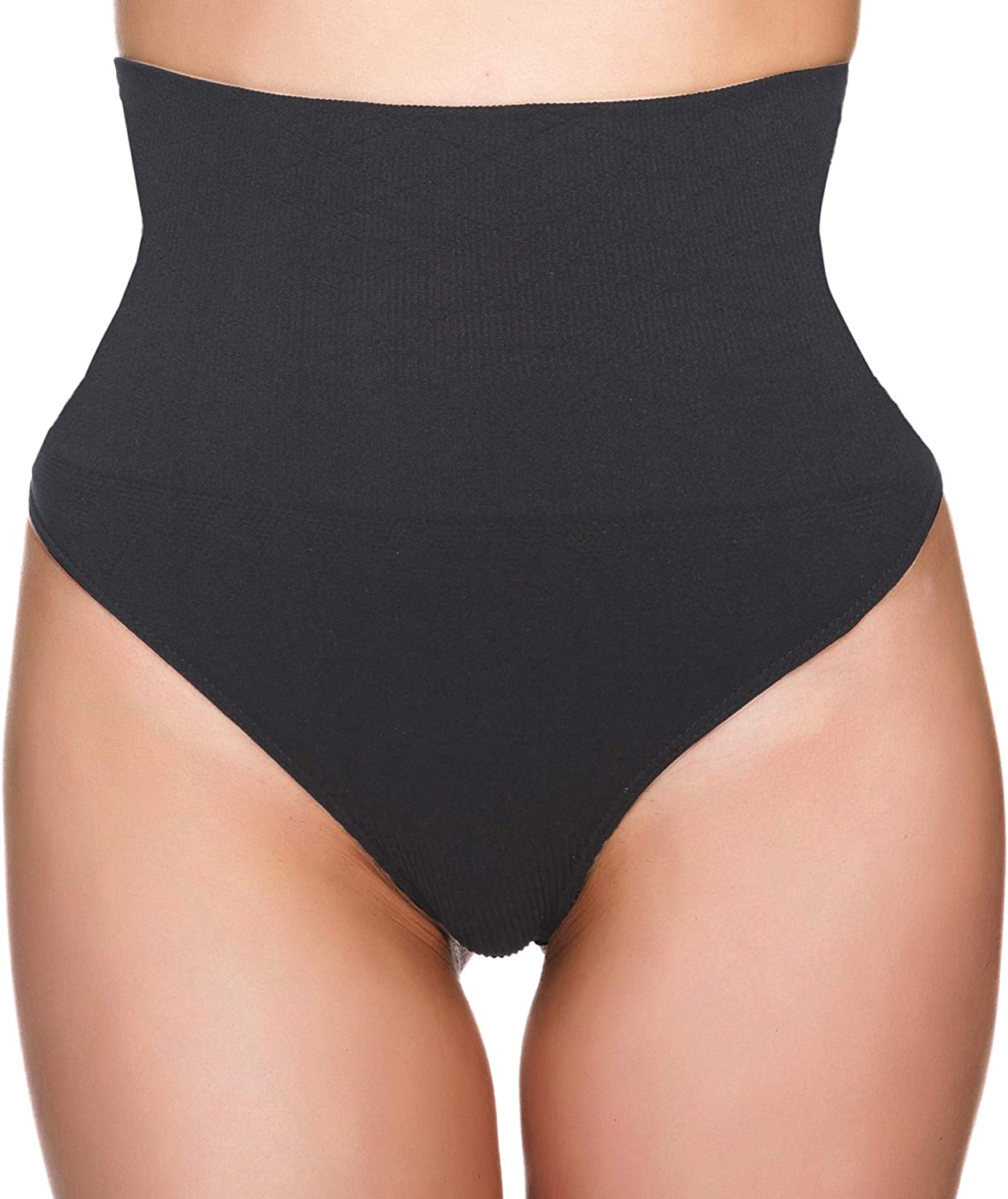 CeesyJuly Womens Tummy Control Panty Slimmer Seamless Middle Waist Shapewear Thong Shaper