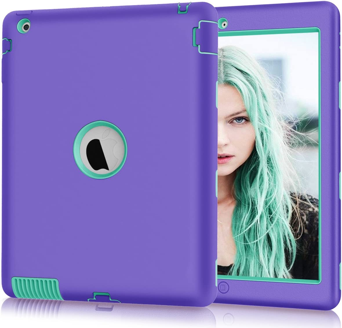 """iPad 2/3/4 Case, Hocase Rugged Slim Shockproof Silicone Rubber+Hard Plastic Dual Layer Protective Case Cover for Apple 9.7"""" iPad 2nd/3rd/4th Generation - Purple/Teal"""