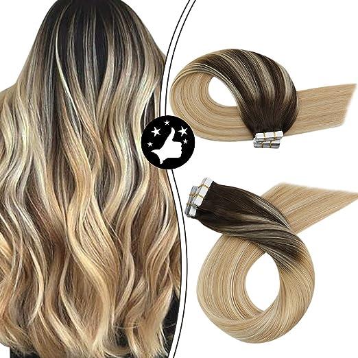 Imagen deMoresoo Extensiones Adhesivas Naturales Liso Marron Oscuro #2 to Rubio #27 Mixed #613 Bleach Blonde 100% Remy Human Hair 14 Pulgadas 20 pcs 50g Skin Weft Tape Hair Extensiones de Cabello