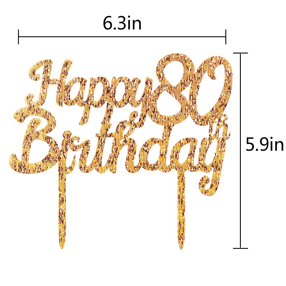 35th LXZS-BH Gold Glitter Acrylic Happy Birthday Cake Topper,Party Cake Decoration Supplies