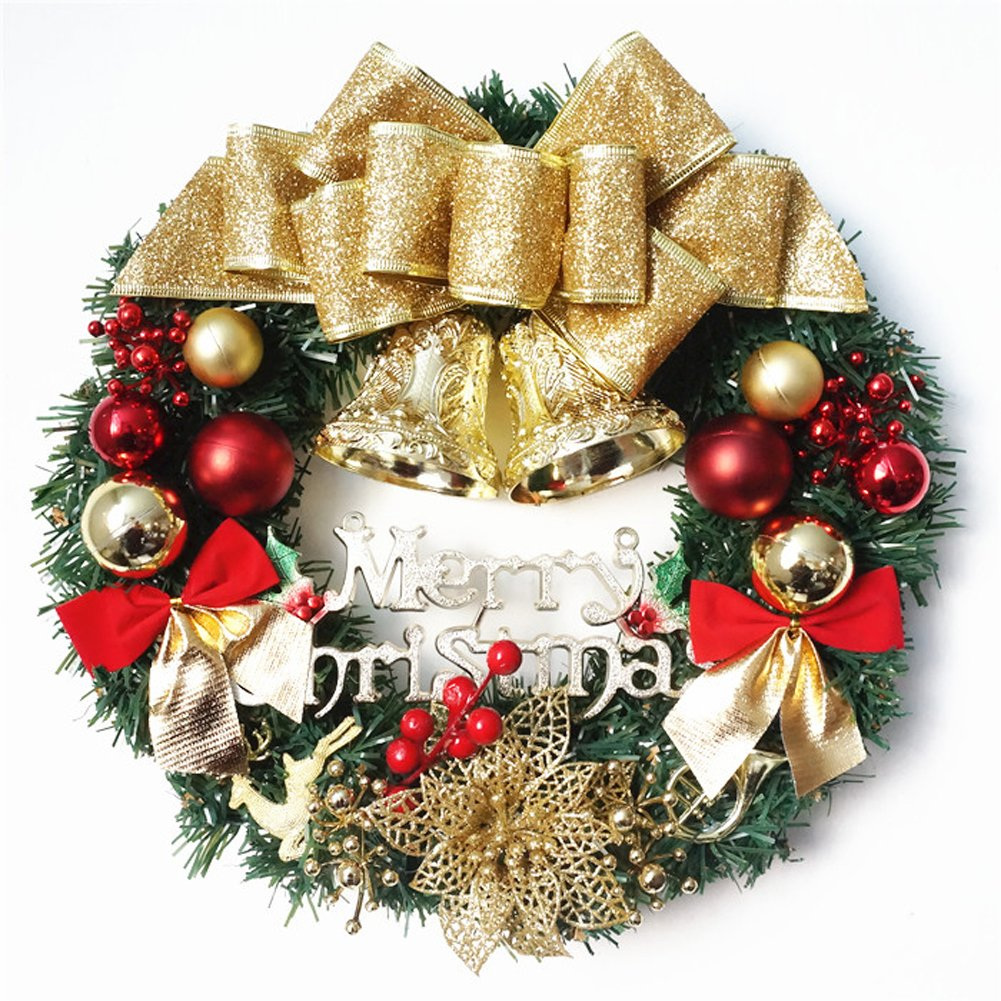 Gold Butterfly Christmas Wreath Garland Ornaments Arcades Hotel Christmas Decorations (30-35cm)