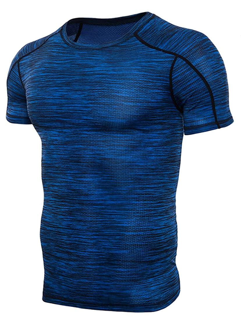 Spirio Mens Active Quick Dry Compression Training Workout Jogger Baselayer T-Shirt