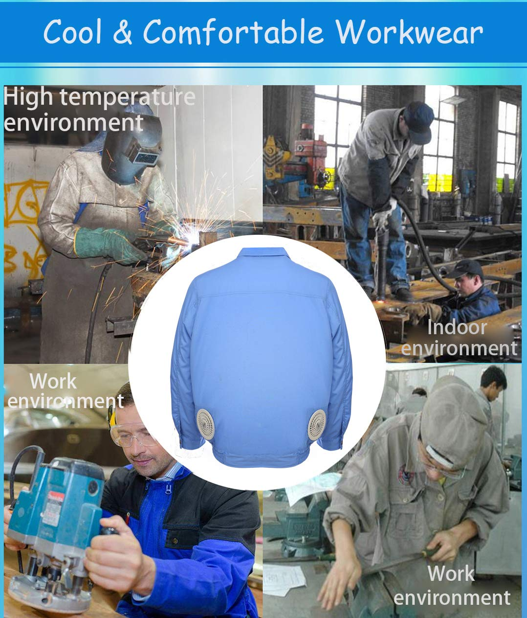ITIEBO Cooling Clothes & Workwear with Fan & battery pack for man (M, Blue workwear) by ITIEBO (Image #3)