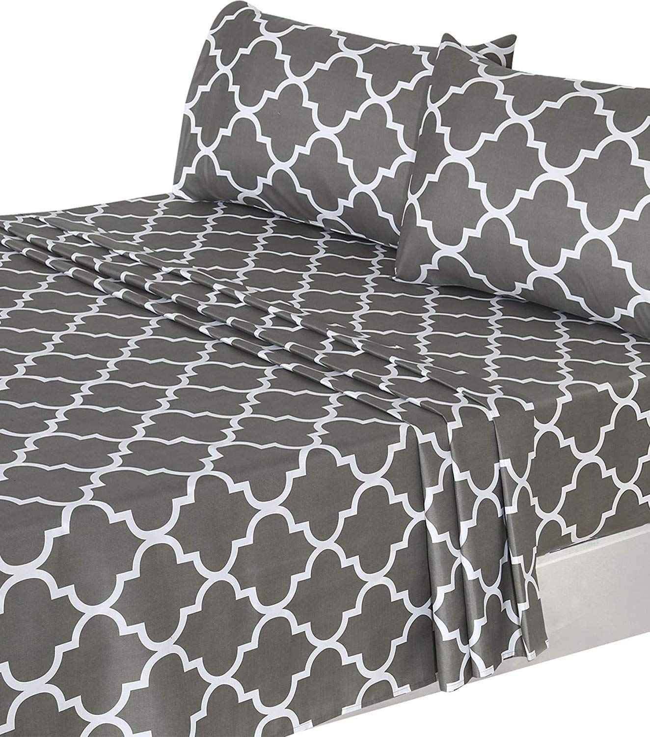 Utopia Bedding 3-Piece Bed Sheet Set (Twin, Grey) - 1 Flat Sheet, 1 Fitted Sheet, and 1 Pillow Case