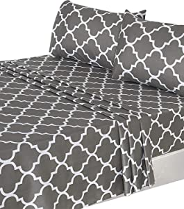 Utopia Bedding 4 Piece Bed Sheet Set (Full, Grey) 1 Flat Sheet, 1 Fitted Sheet, and 2 Pillow Cases
