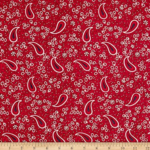 Red Fabric Bandana - Andover Barnyard Babies Bandana Red Fabric by The Yard