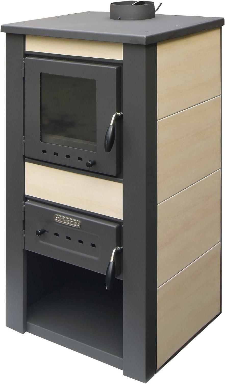 acerto 20074 ALPINA chimenea estufa de agua crema - 48x48x105 cm * 13 kW * para 80-100 qm * ventana | estufa sueca de alta calidad para leña briquetas y carbón estufa de leña moderna para la conexión