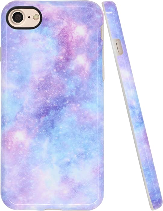 A-Focus Case for iPhone SE 2 Case for Women, iPhone 7 Case Blue, iPhone 8 Case, Purple Violet Colorful Galaxy IMD Design Smooth Flexible Protective TPU Case for iPhone 7/8/SE 4.7 inch Glossy Blue 4