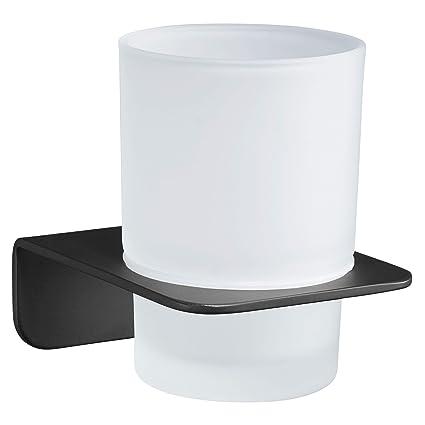 WEISSENSTEIN Vaso Cepillo de Dientes de Pared | Portacepillo de Dientes | Vaso de baño | Soporte Adhesivo de Acero Inoxidable Negro