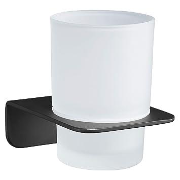 WEISSENSTEIN Vaso Cepillo de Dientes de Pared | Portacepillo de Dientes | Vaso de baño | Soporte Adhesivo de Acero Inoxidable Negro: Amazon.es: Hogar
