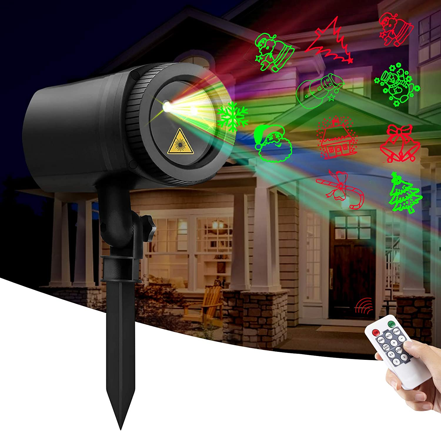 Sunolga Christmas Laser Lights, 12 Patterns Waterproof Outdoor Projector Pattern Lights with RF Wireless Remote for Garden Patio Wall Xmas Holiday Party
