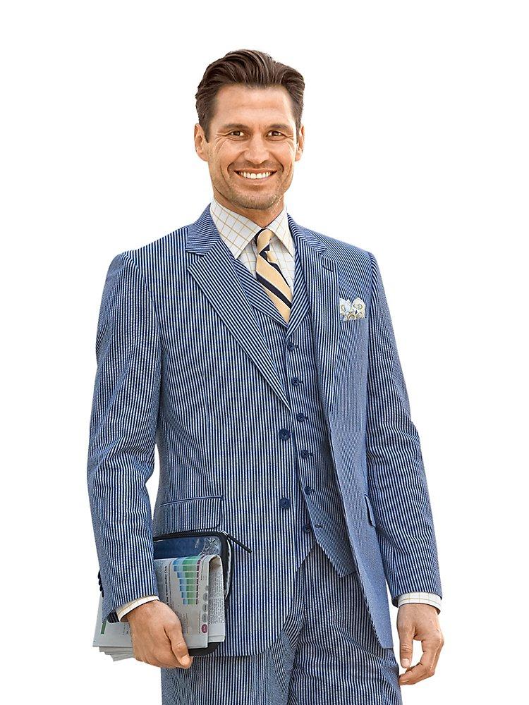 Paul Fredrick Men's Cotton Seersucker Stripe Jacket Navy/Blue 52 Regular