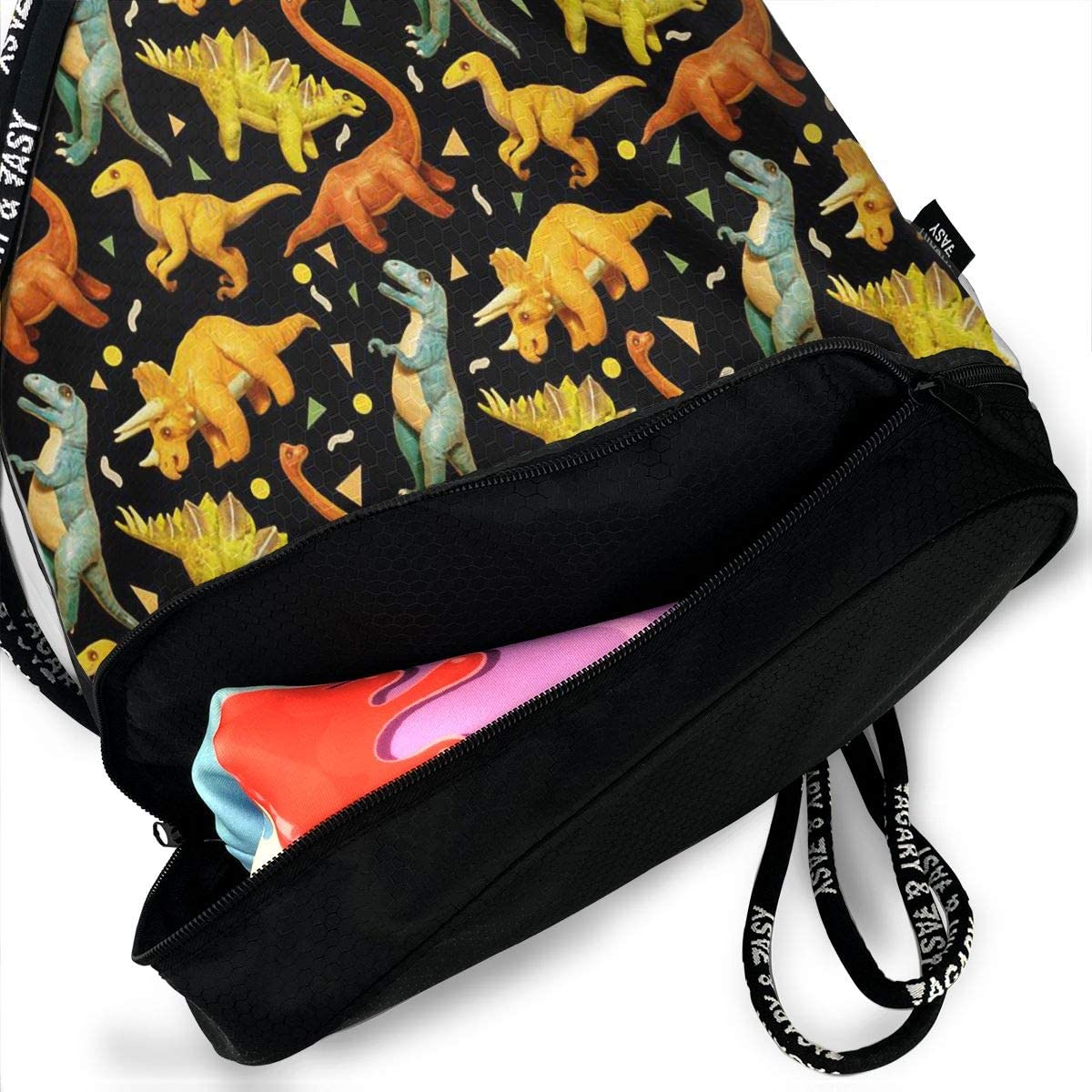 HUOPR5Q Dinosaur Models Drawstring Backpack Sport Gym Sack Shoulder Bulk Bag Dance Bag for School Travel