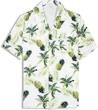 Camisa Hawaiana para Hombre Camisa de Manga Corta Camisa Informal de Flores Aloha Camisas de Fiesta de Playa de Vacaciones