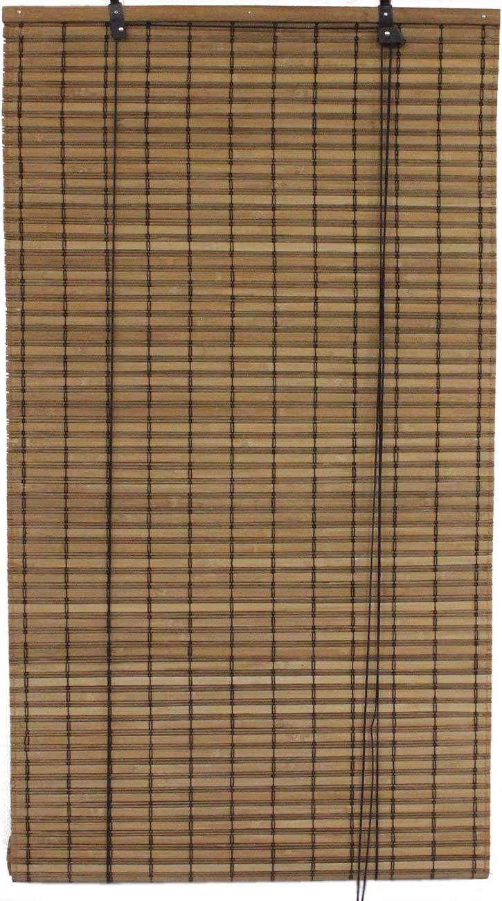 Seta Direct, Brown Bamboo Slat Roll Up Blind – 84-Inch Wide by 72-Inch Long