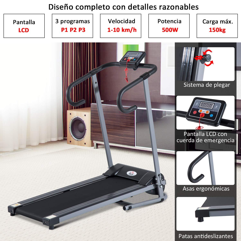 Homcom Cinta de Correr Electrica Plegable Pantalla LCD de 500W 220 ...