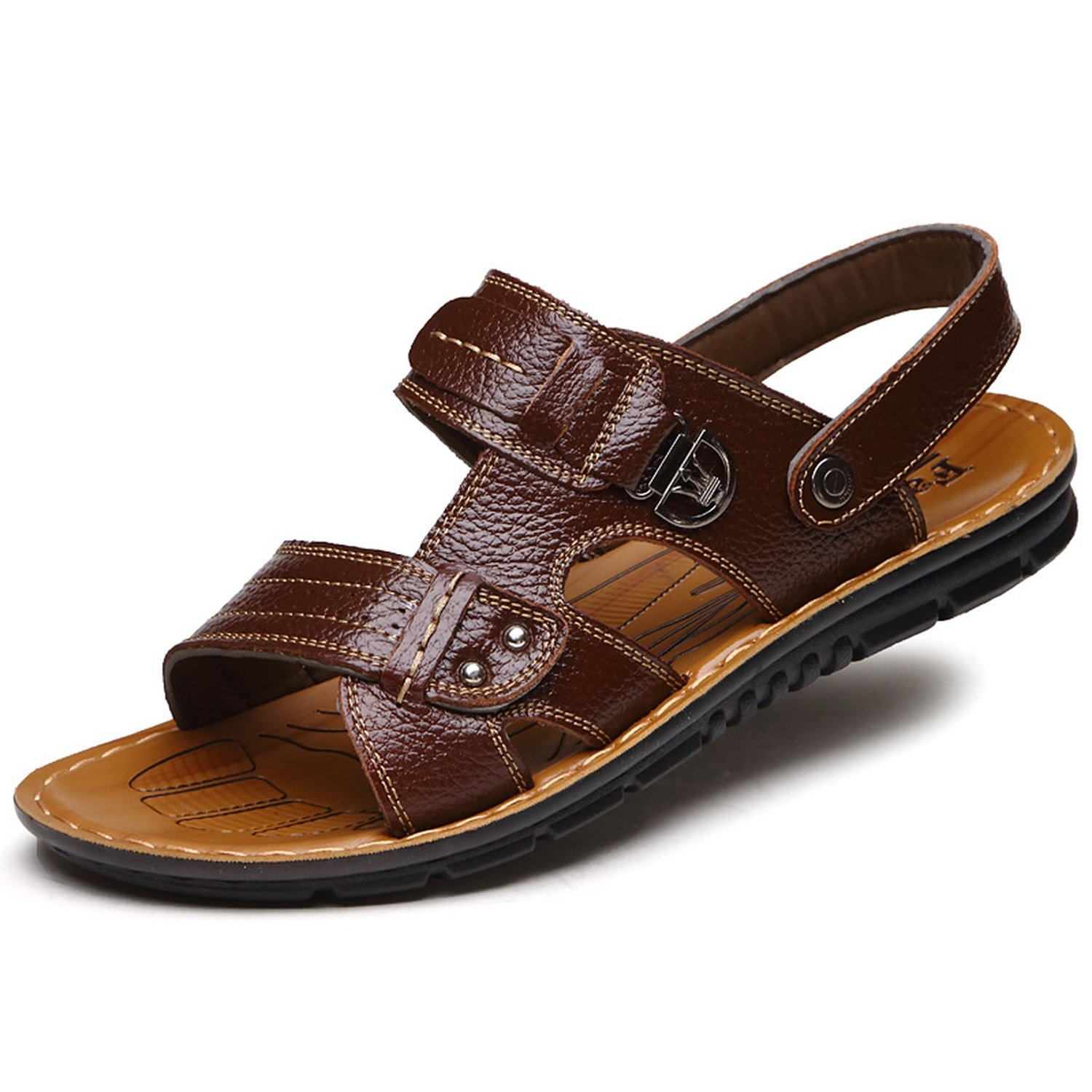 Mens Outdoor Sandal Beach Shoes Synthetic Leather Open-Toe Sandal