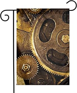 pengyong Garden Flags Double Sided,Steampunk Clocks Yard Decorative for Outdoor,Welcome Home Holiday Flag 12x18 Inch