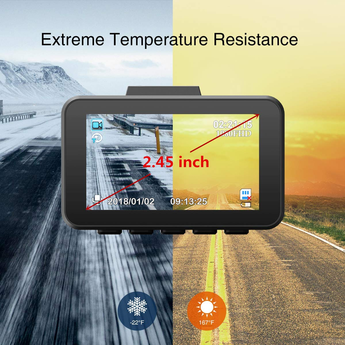 Loop Recording WDR WiMiUS Dash Cam Full HD Car Camera 1080P Dashboard Camera Driving Recorder for Cars 2.45 LCD Screen 170/°Wide Angle G-Sensor Night Vision Parking Monitor