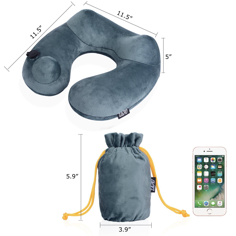 Almohada cervical de viaje hinchable portátil cómodo lavable en forma de U para aviones, coches, autobuses, trenes, Camping, Oficina, - con antifaz de ojos, ...