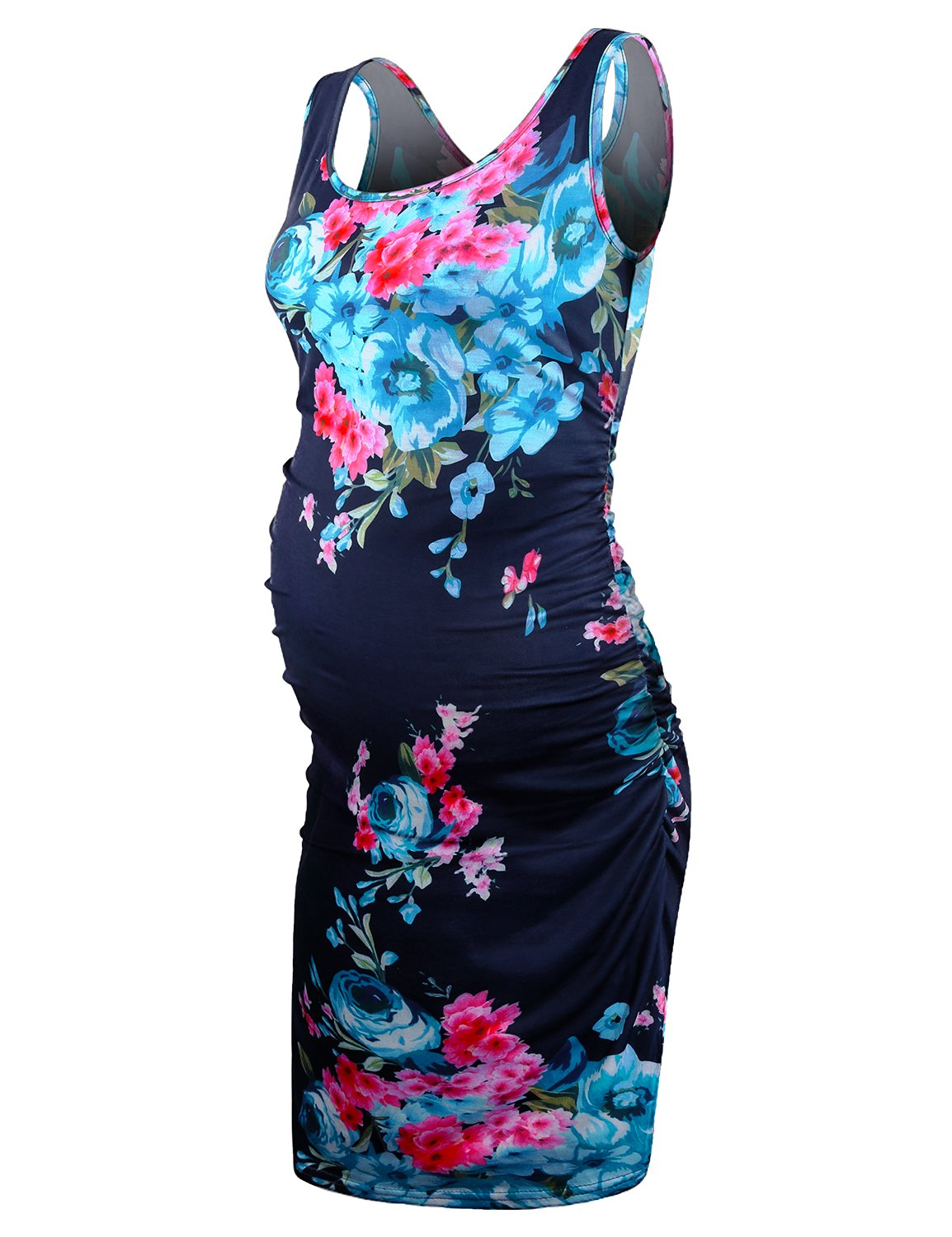 JOYMOM Meternity Sleeveless Dresses, Knee Length Summer Dress for Women Floral Pattern Side Ruched Tank Tops Loose Fit Clothes Under Any Outfits Blue Red Flower X-Large
