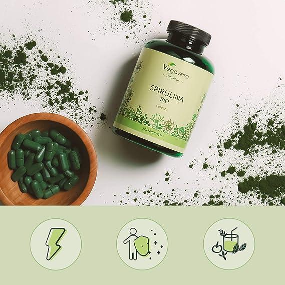 Spirulina Orgánica Vegavero® | La Dosis Más Alta: 1000 mg/Comprimido | Testada en Laboratorio | Sin Aditivos | Detox + Antioxidante + Cansancio | Algas Marinas | 100% BIO | 270 Comprimidos: Amazon.es: Salud y cuidado personal