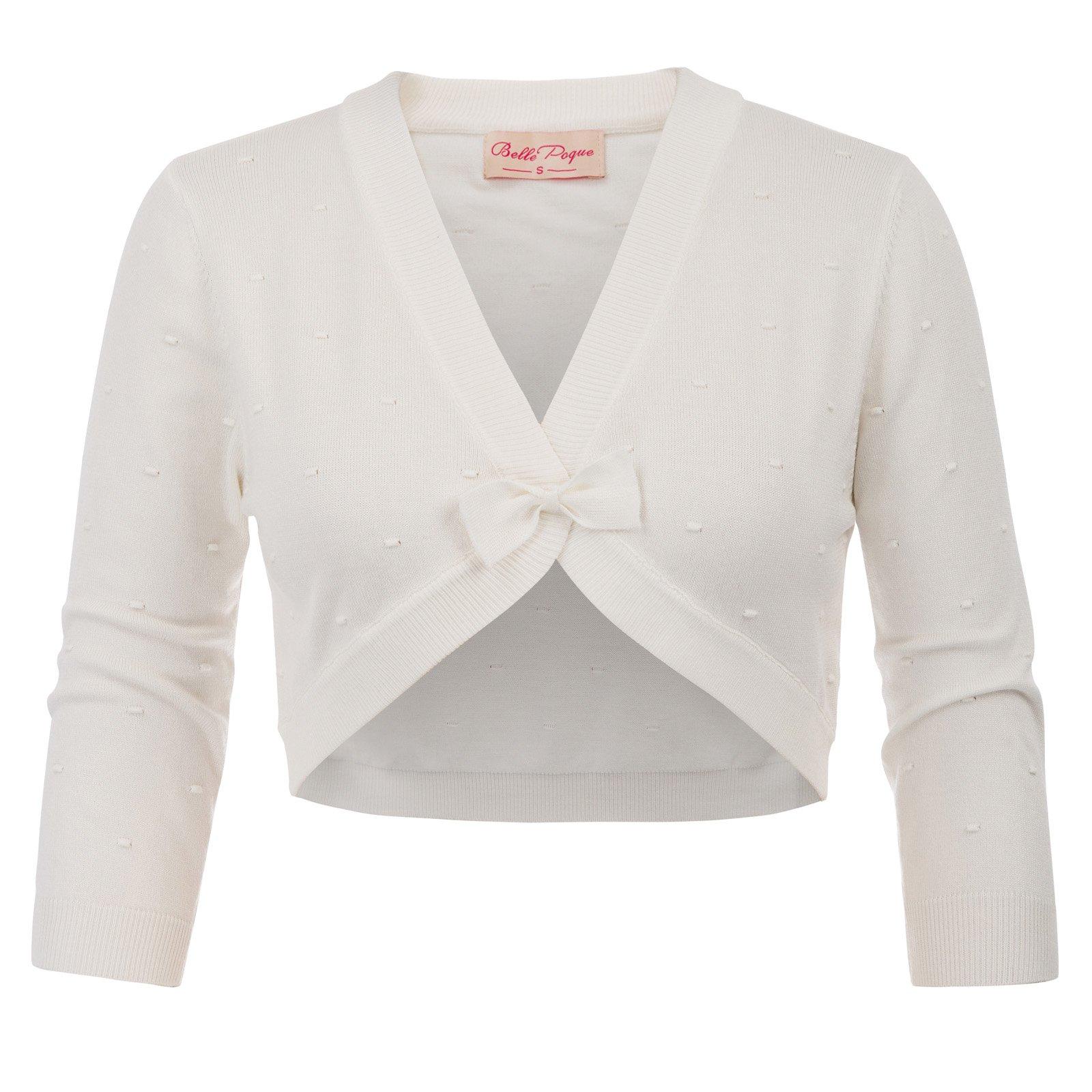 Belle Poque White Shrugs Stretchy Cropped Open Front Shrug Bolero L BP707-2