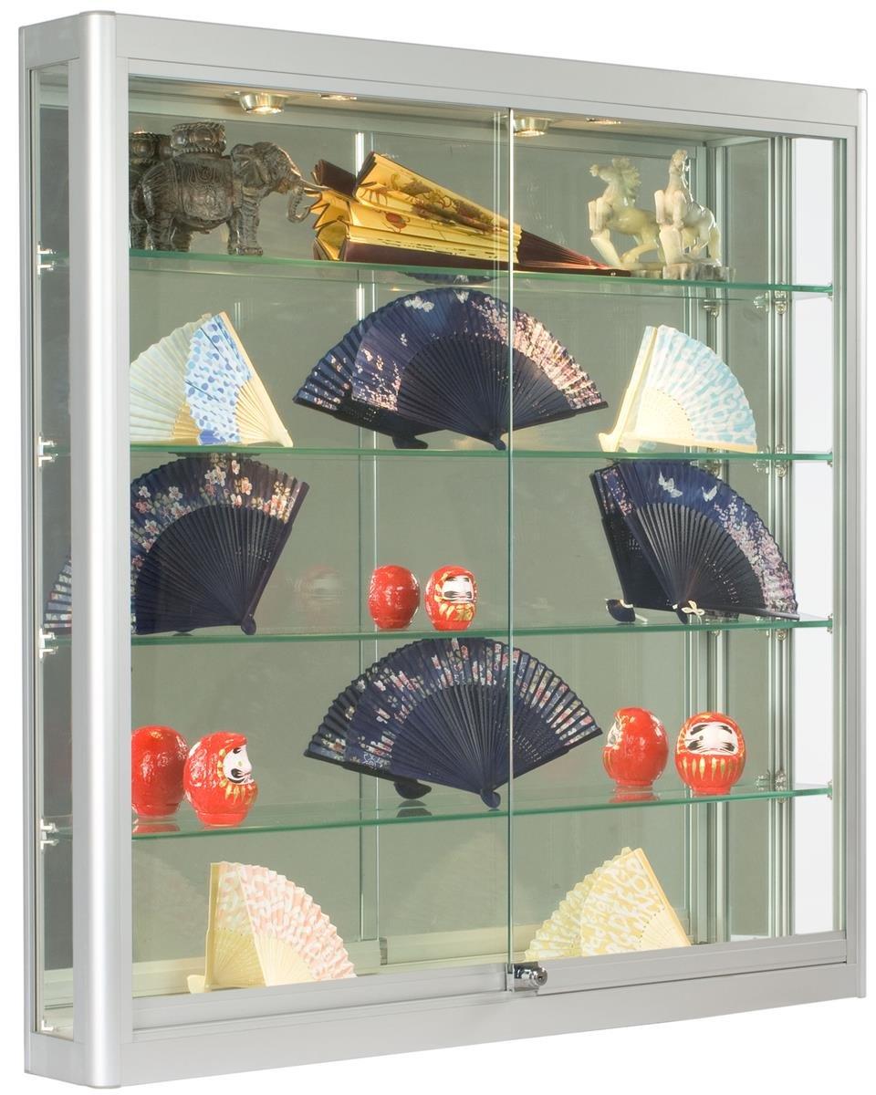 Wall-Mounted, Silver Aluminum Glass Display Case, Illuminated, Locking Sliding Glass Doors, Ships Fully Assembled