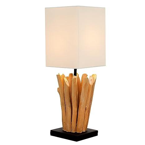 Diseño de lámpara de mesa Euphoria de madera natural con ...